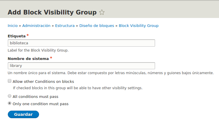 Agregar block visibilty groups