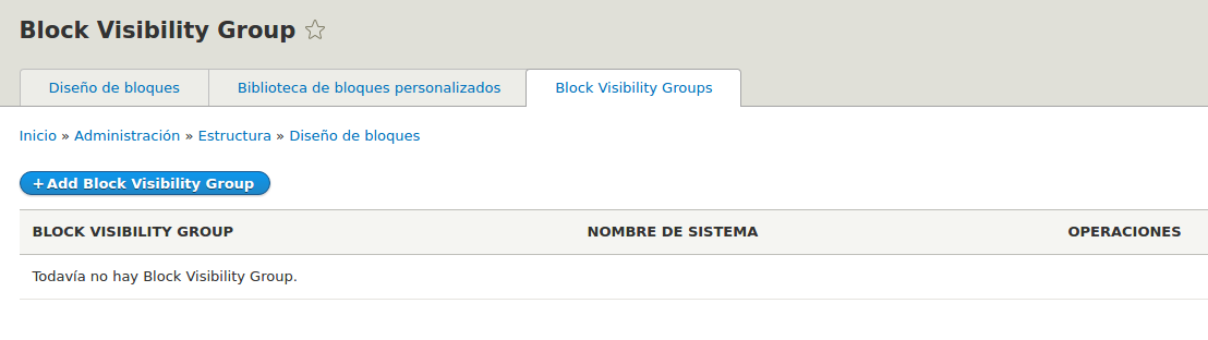 Interfaz del modulo Block visibilty groups